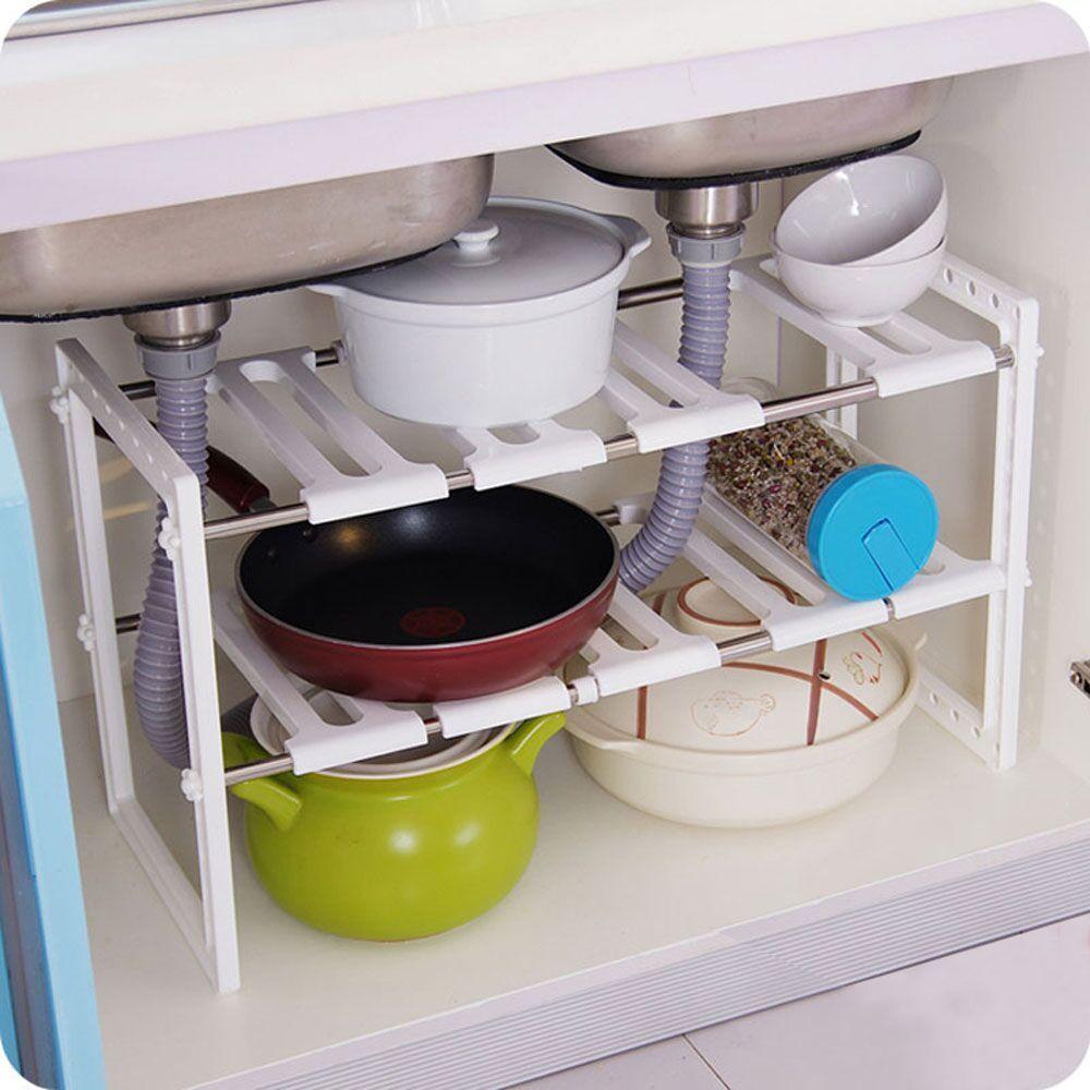 2 Tier Adjustable Under Sink Kitchen Tools Rack Storage Shelf ... Under Cabinet Kitchen Utensil Racks on under cabinet utensil hangers, under cabinet knife blocks, kitchen wall racks, under cabinet pot and pan hanger,