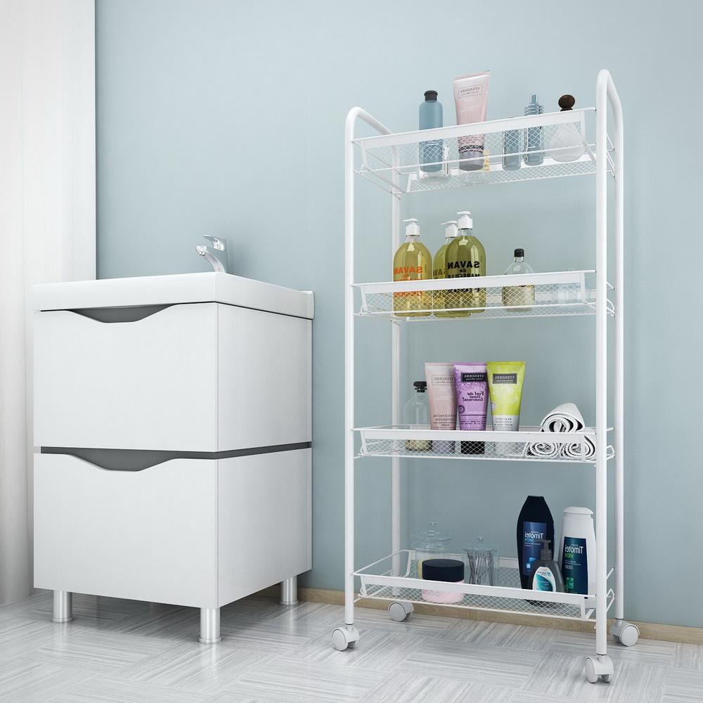Kitchen bathroom storage rack shelf stand organizer 4 tier - Bathroom storage cart with wheels ...