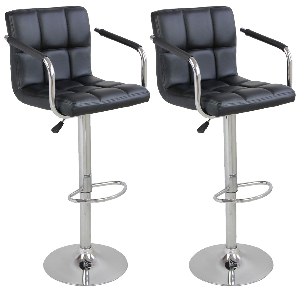 2 Pack Swivel Bar Stool Pu Leather Modern Adjustable