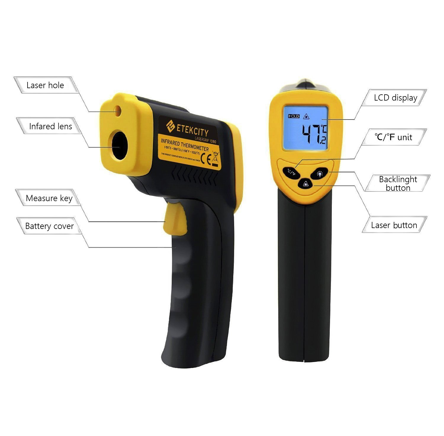 new non contact digital laser infrared ir thermometer temperature temp meter gun ebay. Black Bedroom Furniture Sets. Home Design Ideas