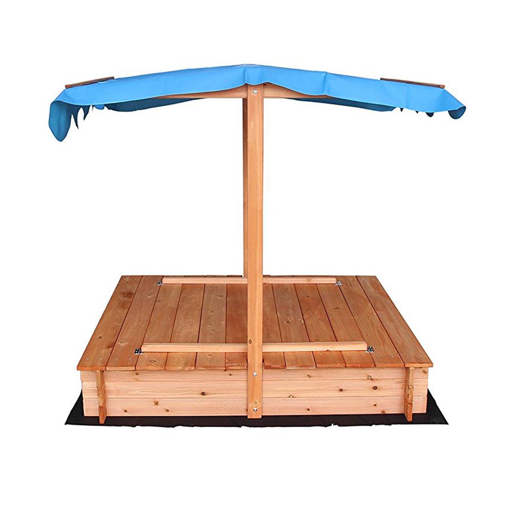 Outdoor Play Sand Pit Fir Sandbox With Canopy 2 Bench