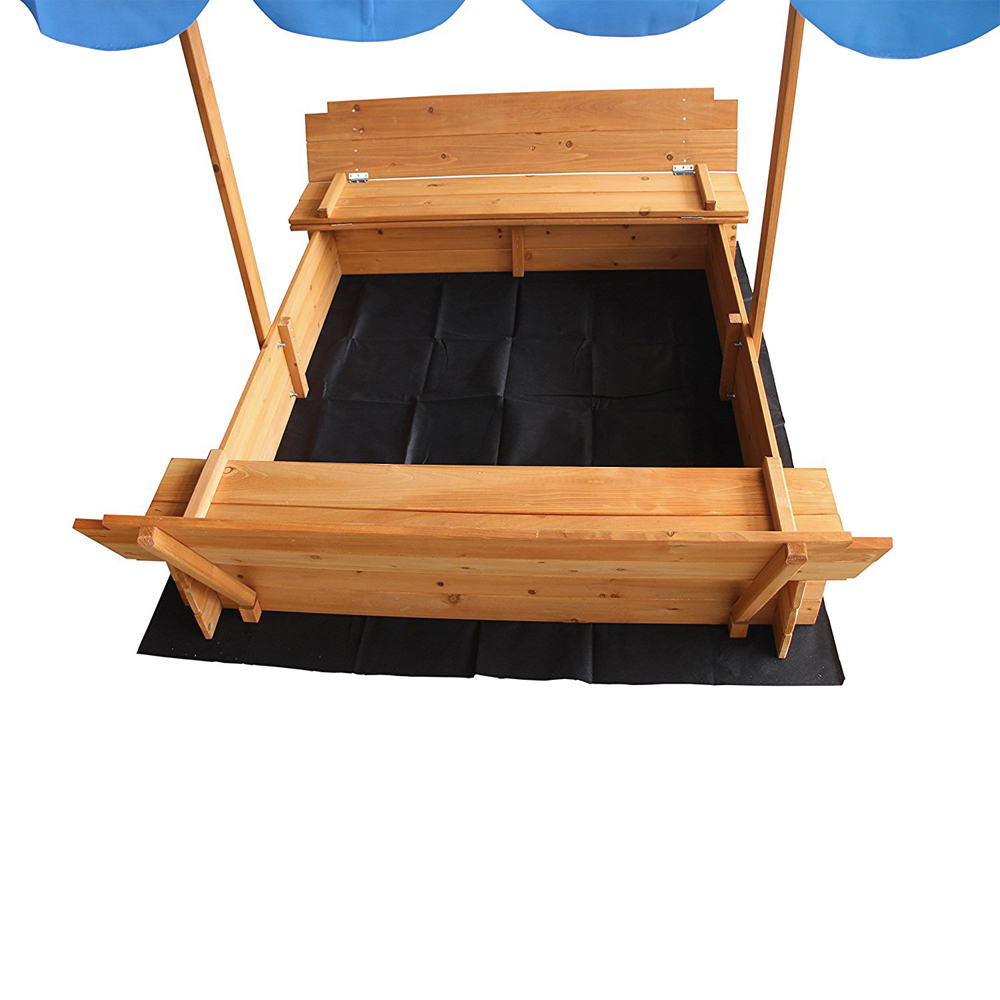 Outdoor Play Sand Pit Fir Sandbox With Canopy 2 Bench