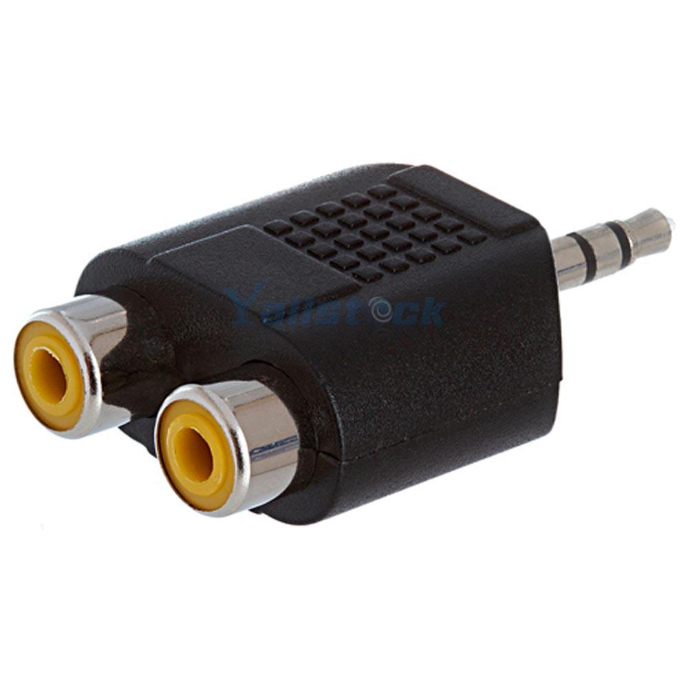 New 3 5mm Audio Jack Male To Female Dual 2 Rca Plug Y